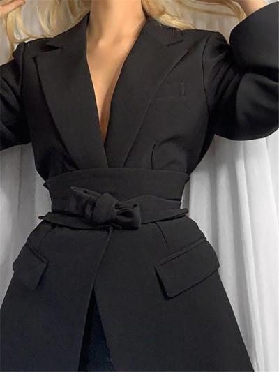 Lapel Notched Collar Open Front Waist Tie Pocket Mdi Blazer Coat