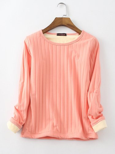 Warm Velvet Cotton Long Sleeve Crew Neck Shirts For Women
