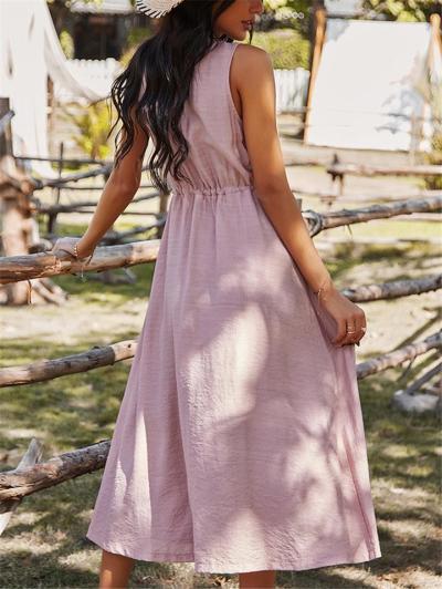Casual Style Round Neck Button Up Sleeveless Drawstring Midi Dress