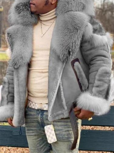 Mens Luxury Suede Leather Fur Coat