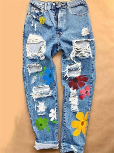 Trendy Button Zipper Closure Floral Printed Ripped Denim Pants