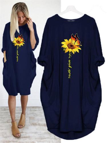 Oversized Round Neck Sunflower Butterfly Long Sleeve Midi Dress