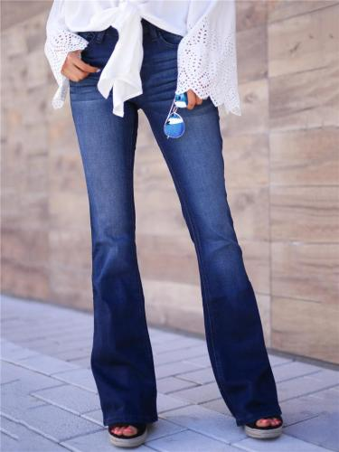 Slim Fit High Rise Button Closure Washed Effect Flare Denim Pants
