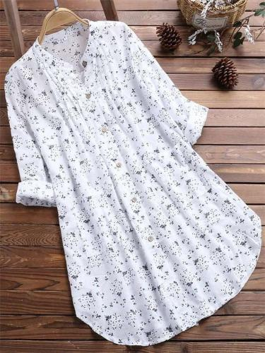 Casual Style Stand Collar Floral Button Up Midi Length Cotton Linen Blouse