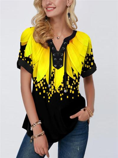 Stylish Front Lace Up Short Sleeve Floral Printed Pullover Tops
