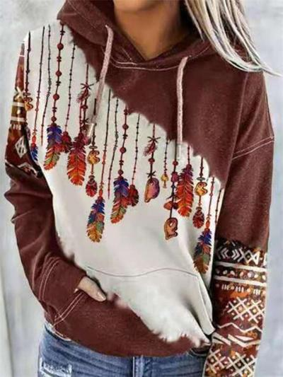Casual Style Contrasting Front Pocket Drawstring Hooded Sweatshirt