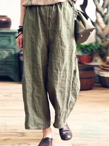 Loose Cotton Linen Ninth-pant