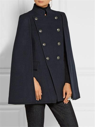 Fashionable Stand Collar Double-Breasted Arm Slit Cloak Trench Coat