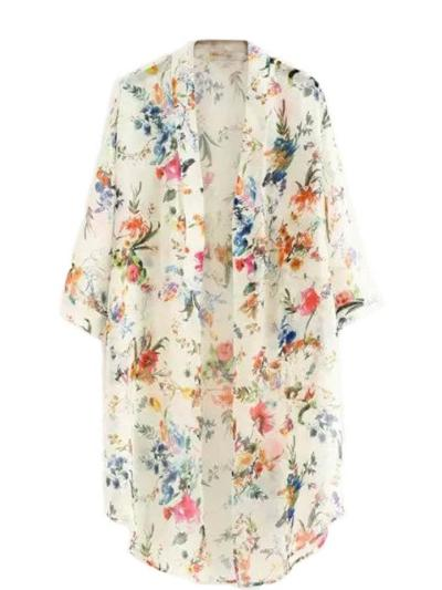 Flowy Lightweight Floral Printed Long Sleeve Open Front Cardigan