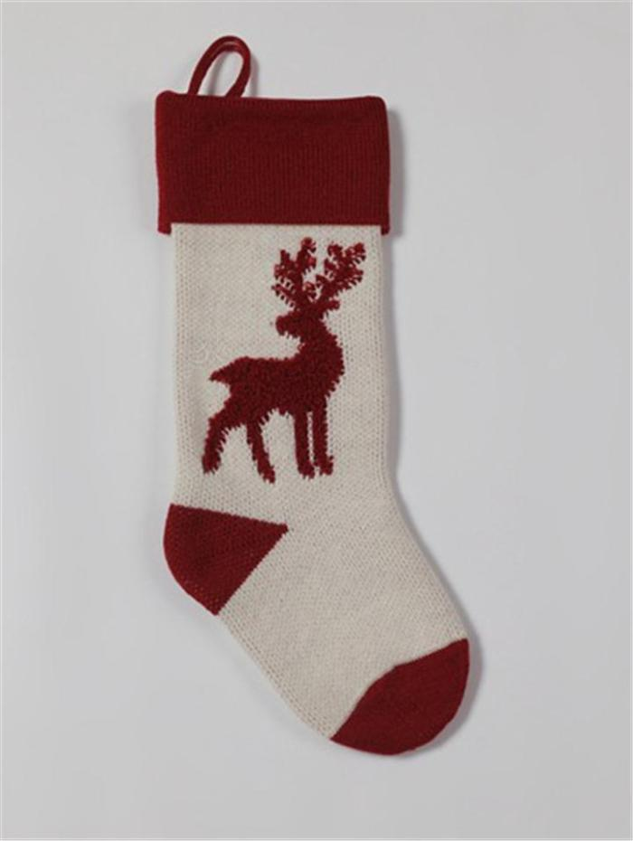 Christmas Deer Cable Knitted Stocking Holders for Gifts and Candies