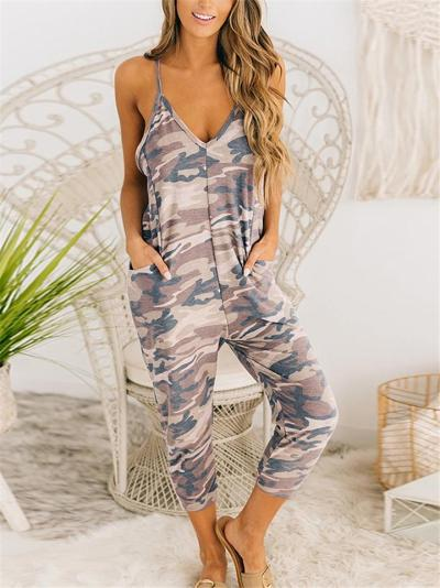 Casual Style V Neck Strappy Camouflage Racerback Pocket Jumpsuit