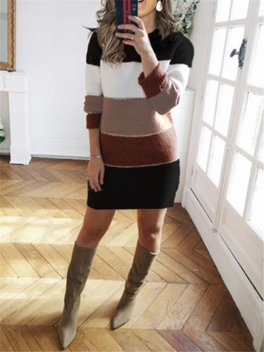Casual Round Neck Patchwork Sweater Dresses
