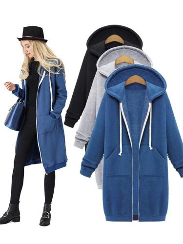 Comfortable Full Zipper Pocket Drawstring Hooded Midi Coat