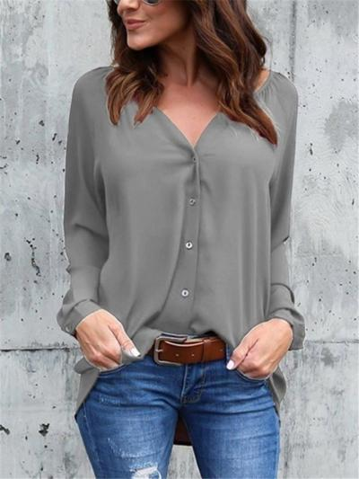 Relaxed Fit V Neck Solid Color Long Sleeve Button Up Chiffon Blouse