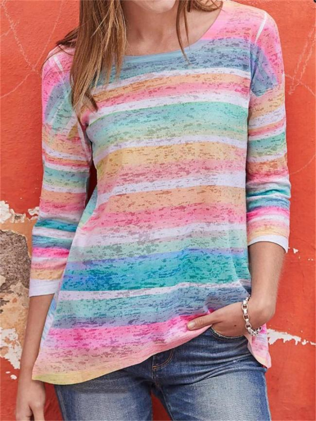 Regular Fit Round Neck Multicolor Striped Long Sleeve Pullover Tops