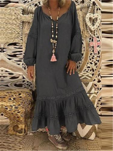Oversized Round Neck Long Sleeve Pleated Hem Maxi Dress