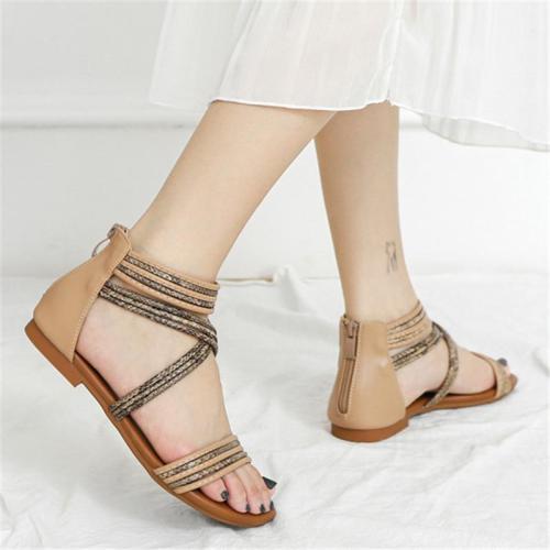 Bohemian Style Lightweight Open-Toe Back Zipper Flat Heel Sandals