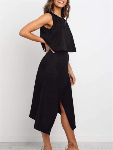 Fashionable 2 Piece Round Neck Sleeveless Tops + Wrap Midi Skirt