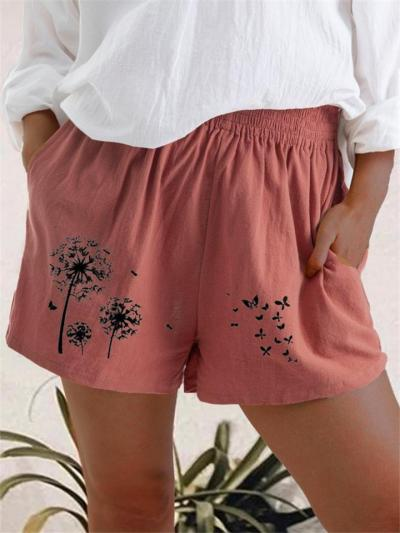 Relaxed Fit Elastic Waist Dandelion Printed High-Rise Pocket Shorts