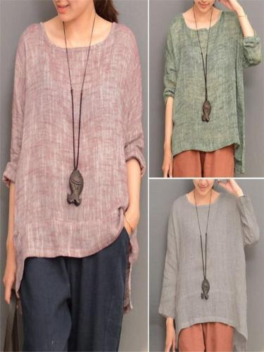 Vintage Round Neck Loose Casual Long Sleeve T-shirt