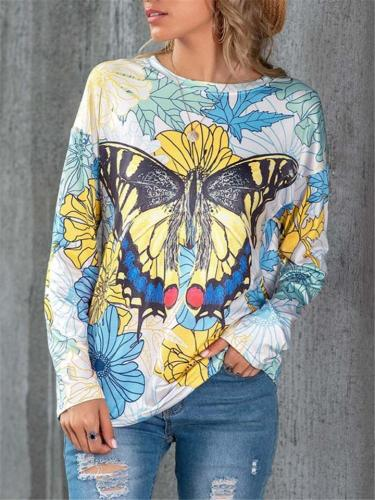 Relaxed Fit Round Neck Butterfly Floral Long Sleeve Pullover Tops