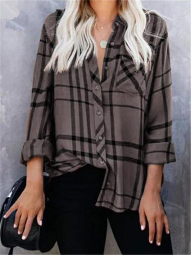 Stylish Plaid Button Up Long Sleeve Blouse