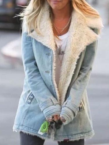 Stylish Turn-Down Collar Buttoned Fashion Coats
