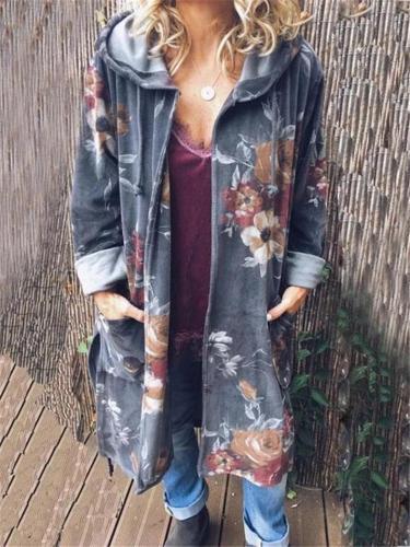 Women Plus Size Casual Pockets Hooded Coat