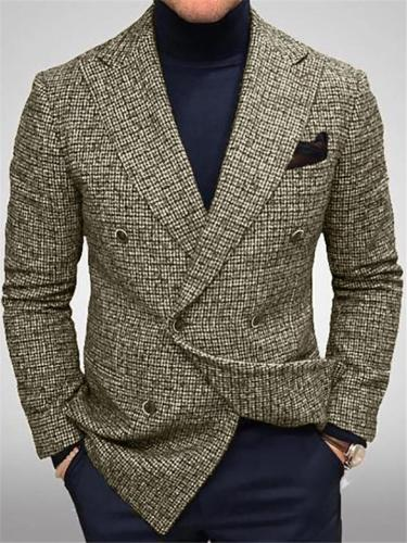 Men's Business Notched Front Pocket Plaid Blazer