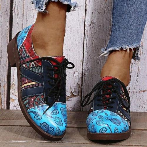 Bohemian Style Low-Cut Chunky Low Heel Lace Up Shoes