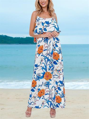 Fashionable Scoop Neck Floral Printed Adjustable Strap Maxi Dress