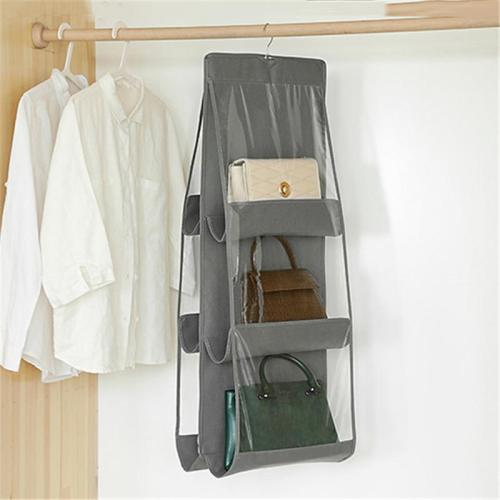 Hanging Bag Rack with Adjustable Hook and Clear Window