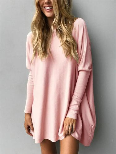 Relaxed Fit Solid Color Round Neck Long Sleeve Pullover Basic Tops