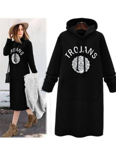 Letter Printed Front Pouch Pocket Drawstring Hooded Long Sweatshirt
