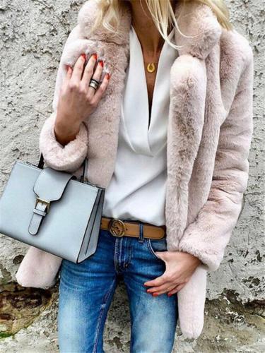 Women's Solid Color Long Sleeve Lapel Fluff Coats