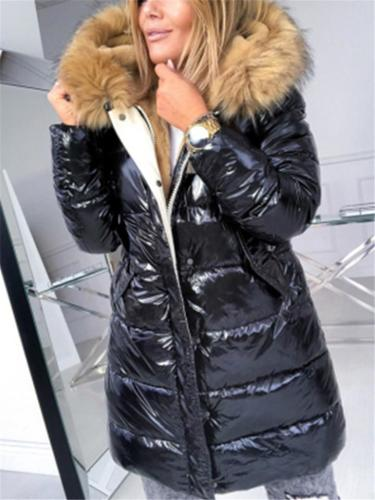 Cozy Warm Glittering Zipper Up Fur Lining Hooded Padded Coat
