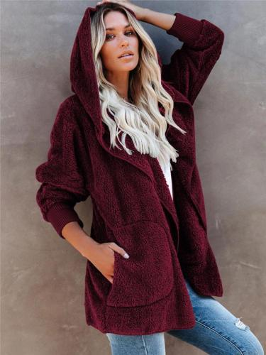 Ultra Comfortable Women Hooded Plush Cardigan