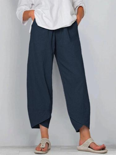 Women's Comfy Solid Color Elastic Waist Cotton Casual Pants