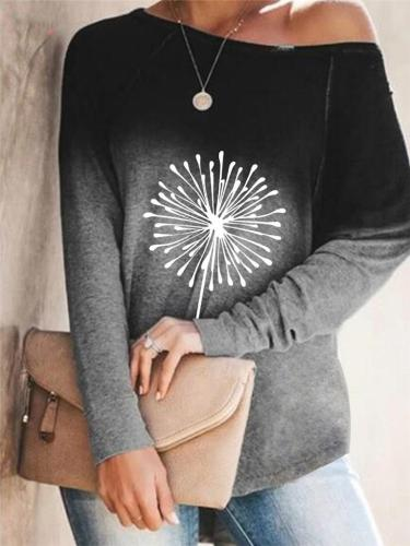 Relaxed Fit Front Printed Round Neck Long Sleeve Shirt
