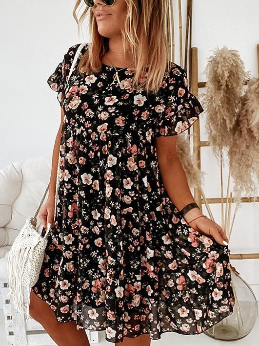 Womens Fashion Floral Printing O-Neck Short Sleeve Dress
