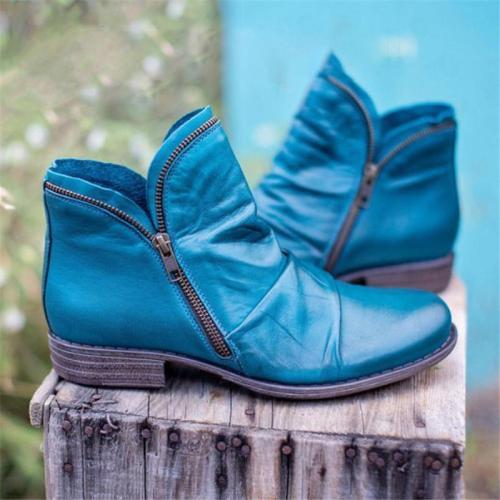 Retro Wearable Side ZipperRound-Toe Block Heel Leather Ankle Boots