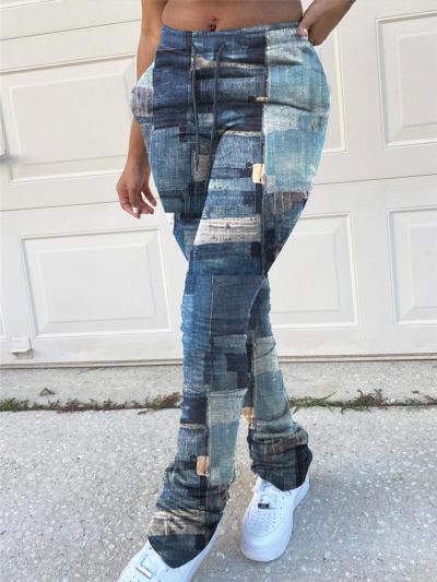 Slim Fit Elastic Waist Drawstring Denim Skinny Pants