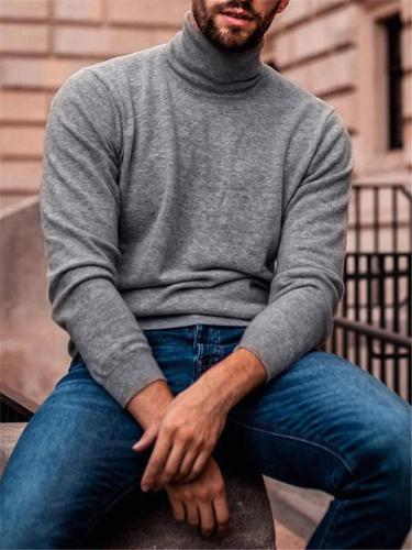 Stylish Mens Wram Turtleneck LongSleeve Knitting T-Shirt