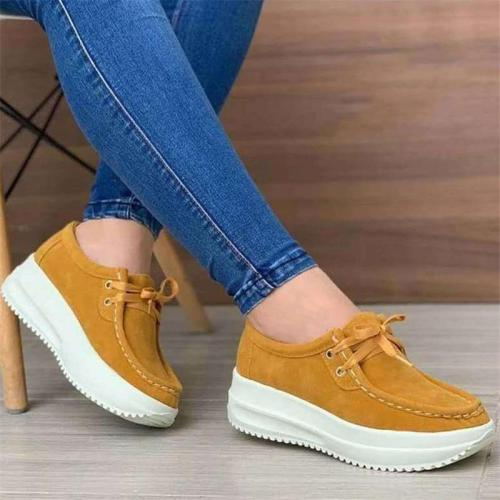Suede Platform Lace-up Loafers For Women