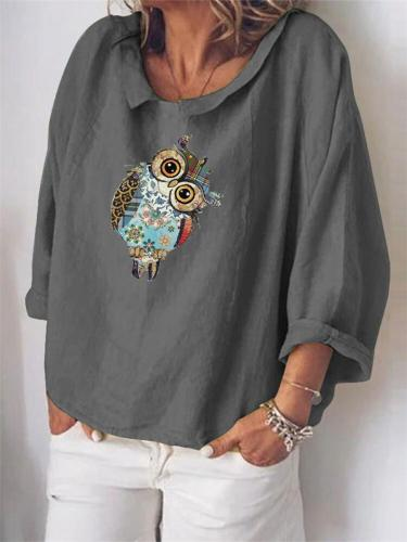 Cute Owl Printed Short Sleeve Loose Shirts