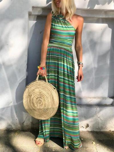 Fashionable One Shoulder Sleeveless Striped Multicolor Pocket Maxi Dress