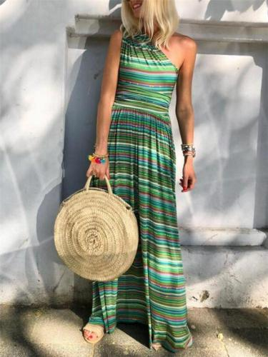 Fashionable One Shoulder Sleeveless Striped Multicolor Pocket Maxi Dress