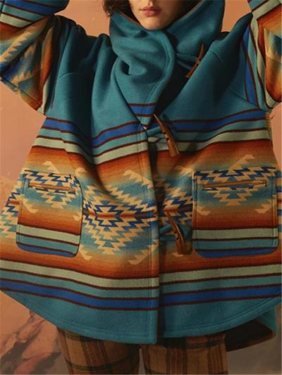 Blue Yellowstone Printed Horn Button Hooded Cloak