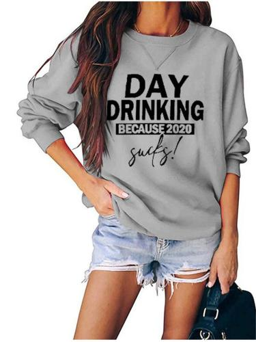 Relaxed Fit Round Neck Letter Printed Long Sleeve Sweatshirt