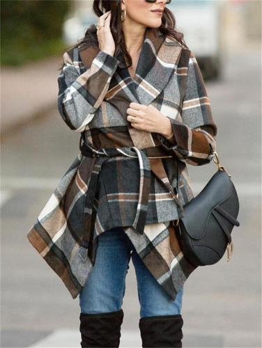Asymmetric Hem Plaid Long Sleeve Woolen Coat